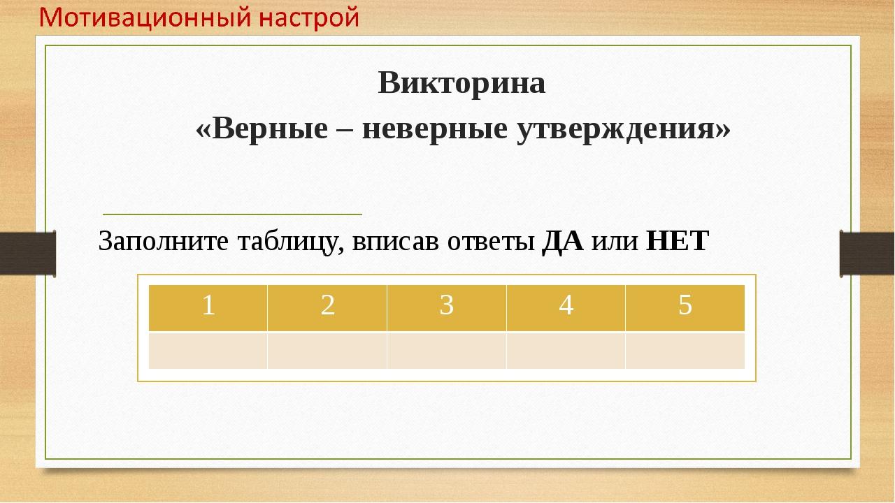 Викторина «Верные – неверные утверждения» Заполните таблицу, вписав ответы ДА...