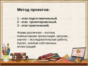 Метод проектов: 1 - этап подготовительный. 2 - этаппроектировочный. 3 - эта