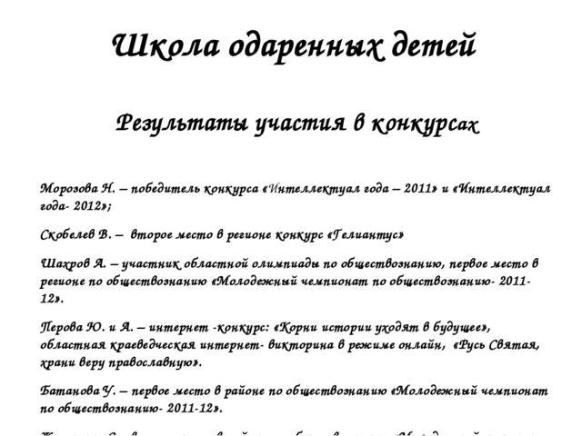 Школа одаренных детей Результаты участия в конкурсах Морозова Н. – победитель...
