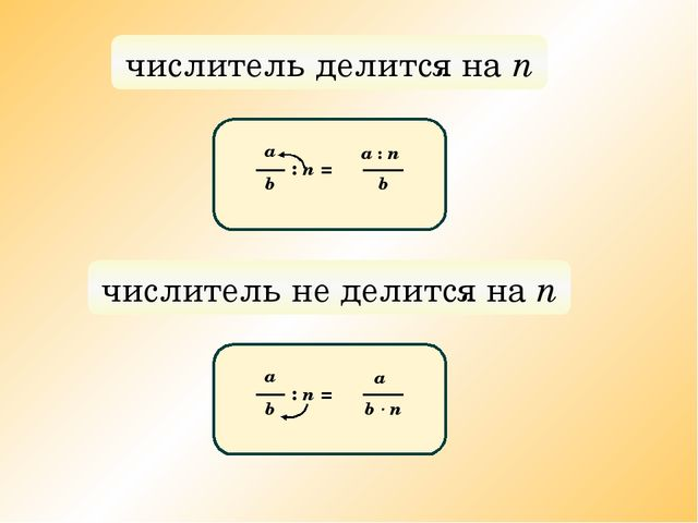 числитель делится на n а b : n = a : n b числитель не делится на n а b : n =...