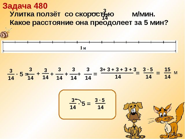 · 5 = + + + = Задача 480 3+ 3 + 3 + 3 + 3 14 = = + м