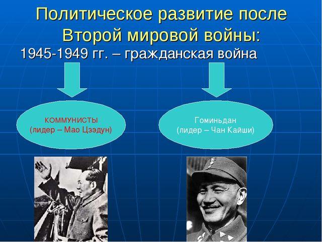 Политическое развитие после Второй мировой войны: 1945-1949 гг. – гражданская...