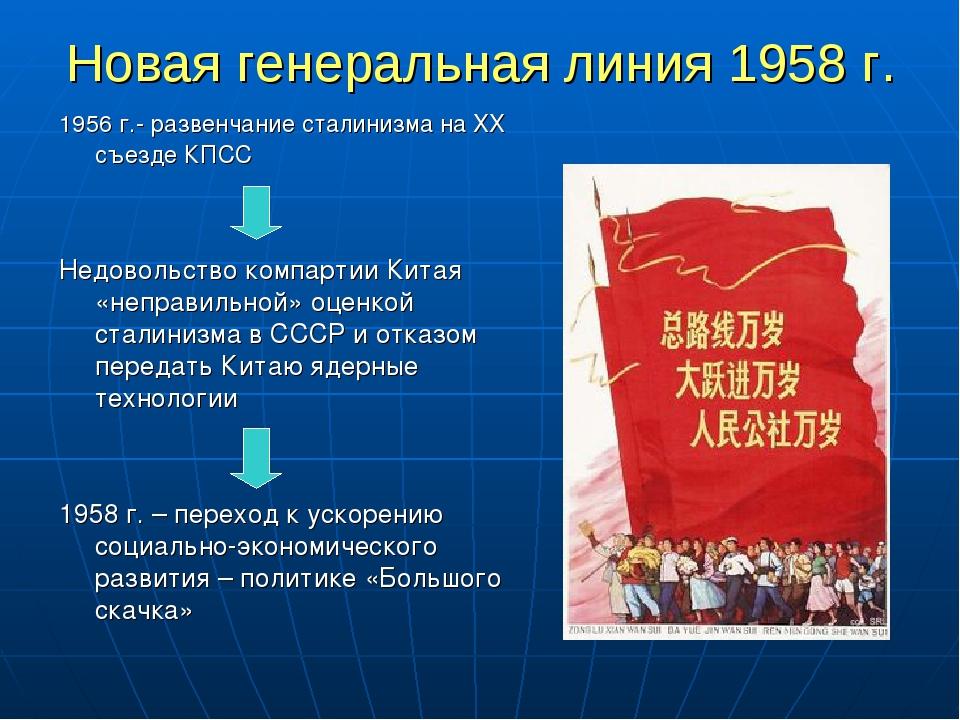 Новая генеральная линия 1958 г. 1956 г.- развенчание сталинизма на ХХ съезде...