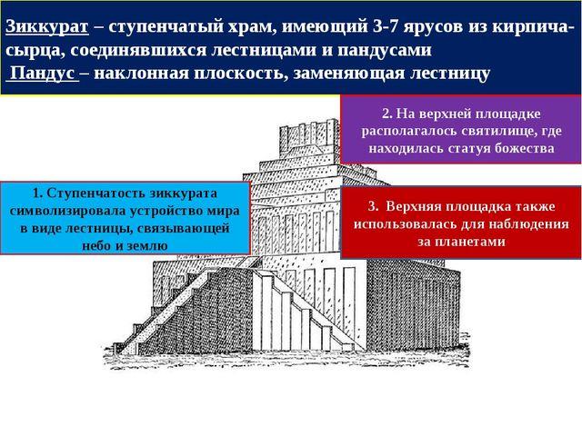 Зиккурат – ступенчатый храм, имеющий 3-7 ярусов из кирпича-сырца, соединявших...