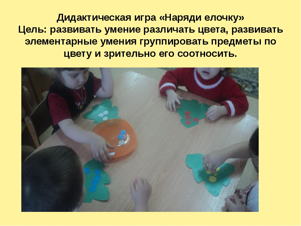 Дидактическая игра «Наряди елочку» Цель: развивать умение различать цвета, ра...