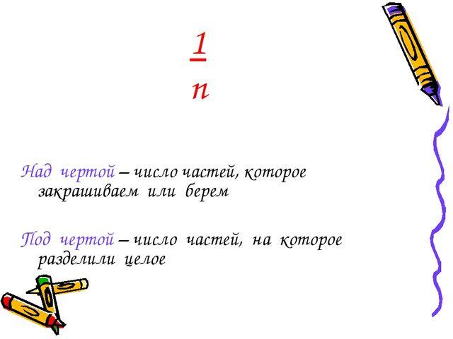 1 n Над чертой – число частей, которое закрашиваем или берем Под чертой – чис...