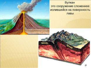 Вулкан это сооружение сложенное излившейся на поверхность лавы
