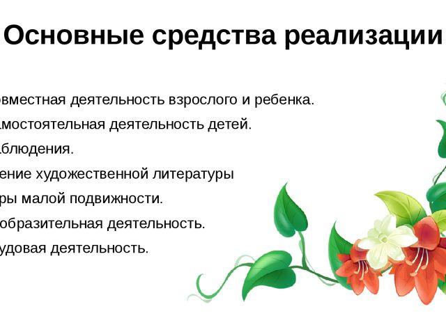Основные средства реализации Совместная деятельность взрослого и ребенка. Сам...