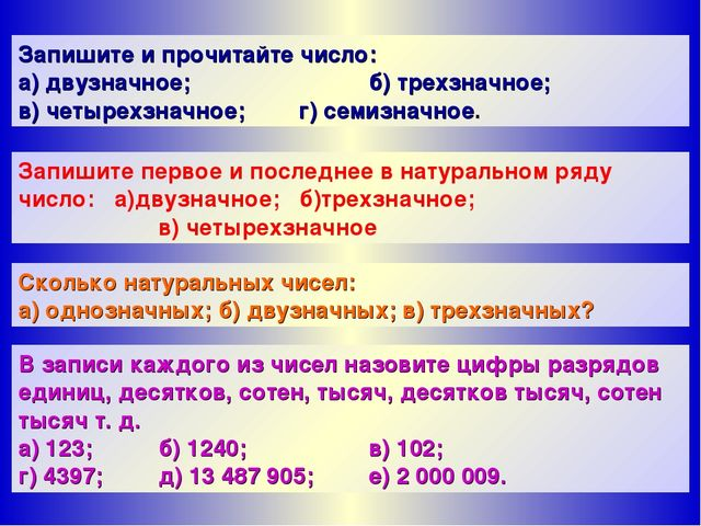 Запишите и прочитайте число: а) двузначное;б) трехзначное; в) четырехзначн...