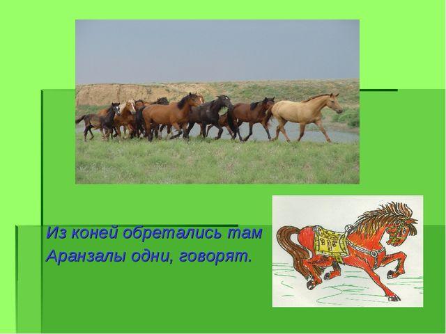 Из коней обретались там Аранзалы одни, говорят.