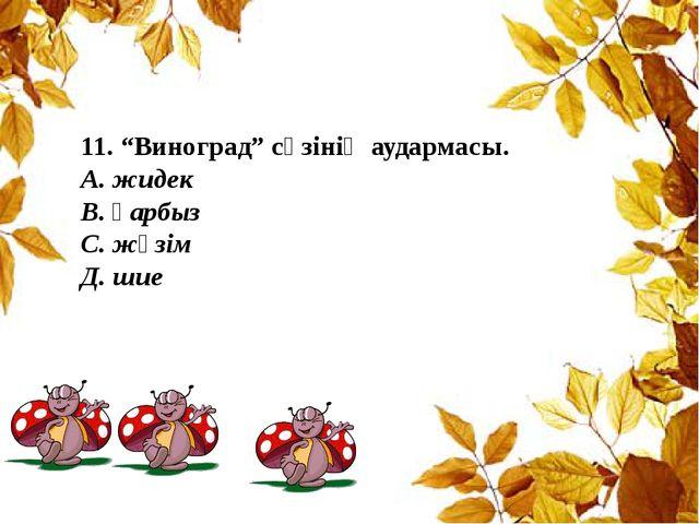 """11. """"Виноград"""" сөзінің аудармасы. А. жидек В. қарбыз С. жүзім Д. шие"""