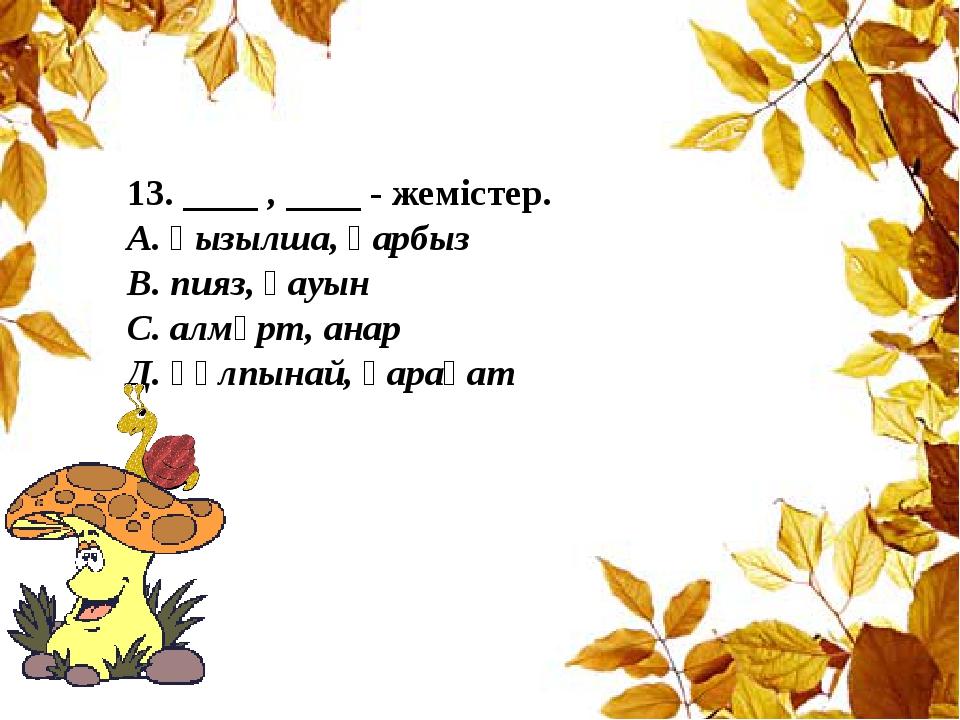 13. ____ , ____ - жемістер. А. қызылша, қарбыз В. пияз, қауын С. алмұрт, анар...