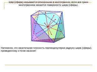 Шар (сфера) называются вписанными в многогранник, если все грани многогранник
