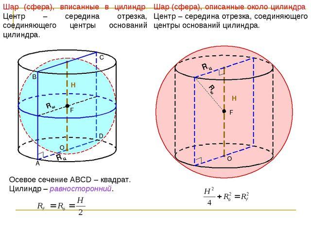 Шар (сфера), вписанные в цилиндр. Центр – середина отрезка, соединяющего цент...