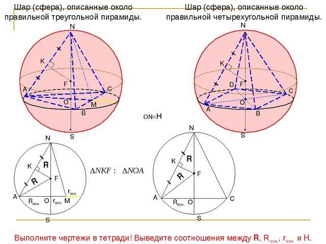 Шар (сфера), описанные около правильной четырехугольной пирамиды. Шар (сфера)...