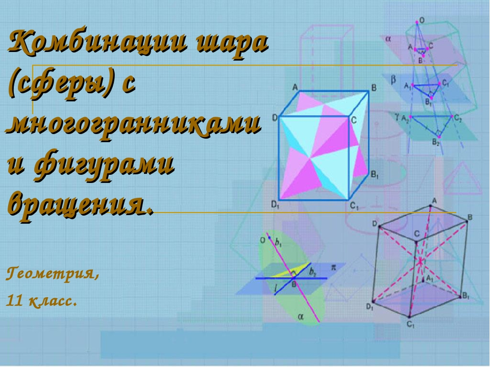 Комбинации шара (сферы) с многогранниками и фигурами вращения. Геометрия, 11...