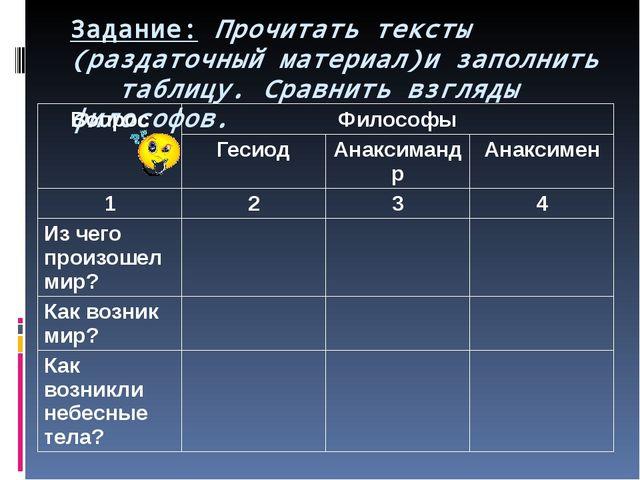 Задание: Прочитать тексты (раздаточный материал)и заполнить таблицу. Сравнить...