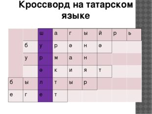 Кроссворд на татарском языке ш а г ы й р ь б у р ә н ә у р м а н ә к и я т б
