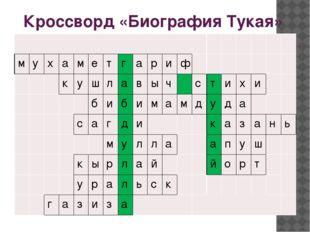 Кроссворд «Биография Тукая» м у х а м е т г а р и ф к у ш л а в ы ч с т и х