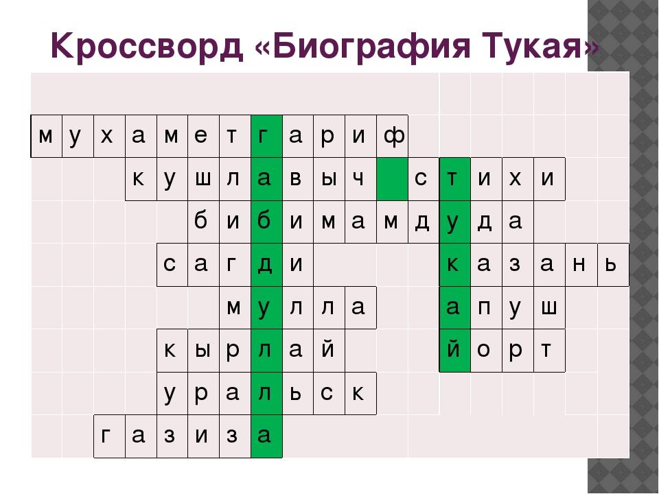 Кроссворд «Биография Тукая» м у х а м е т г а р и ф к у ш л а в ы ч с т и х...