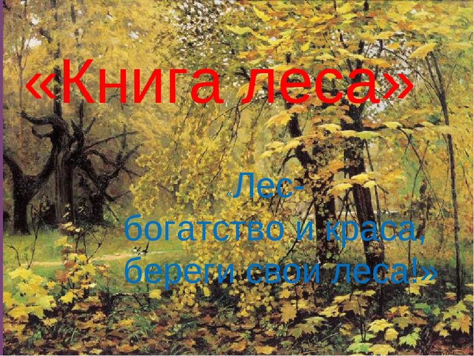 «Книга леса» «Лес- богатство и краса, береги свои леса!»