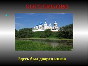 БОГОЛЮБОВО КНЯЖЕСКАЯ РЕЗИДЕНЦИЯ Здесь был дворец князя