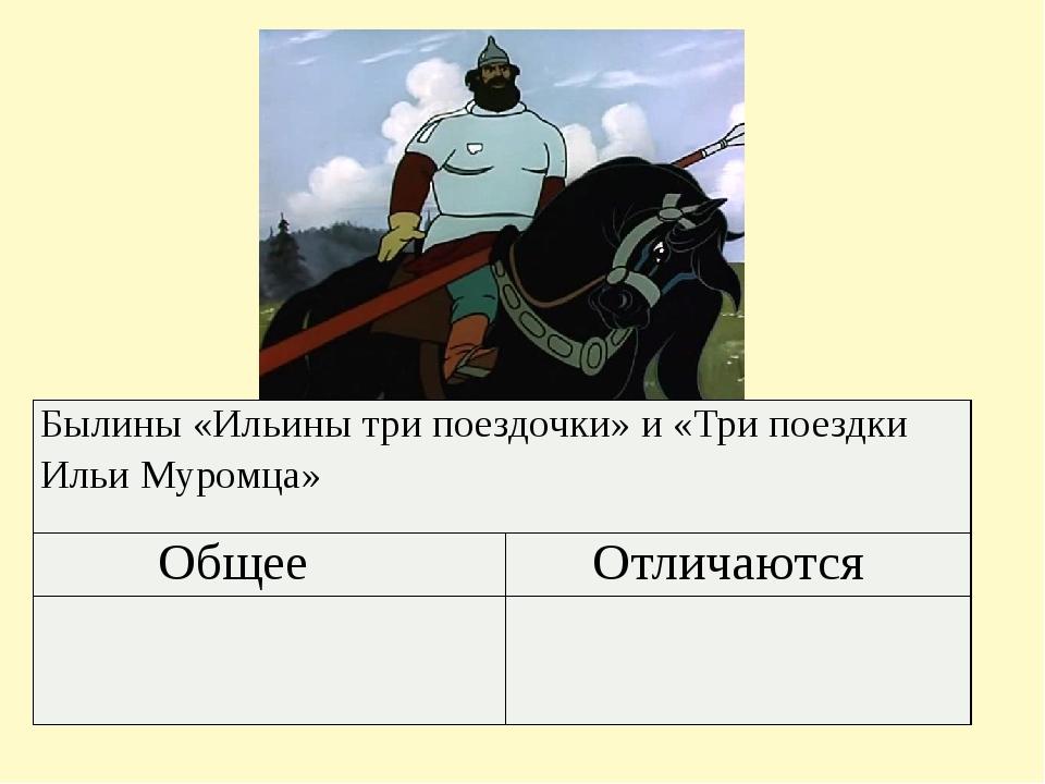 Былины «Ильины три поездочки» и «Три поездки Ильи Муромца»  Общее Отличаются...
