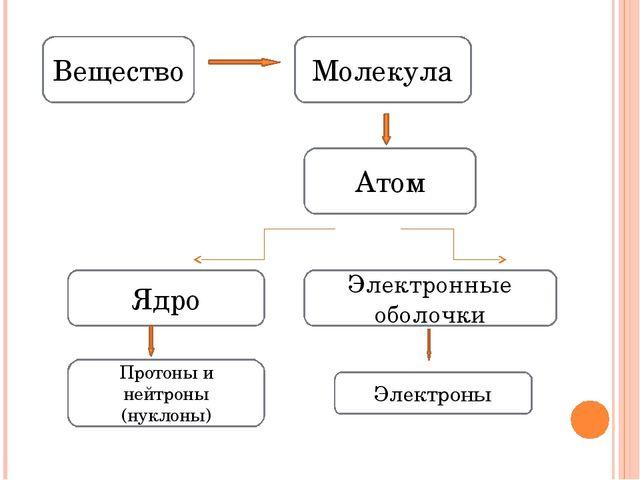 Вещество Молекула Атом Ядро Электронные оболочки Протоны и нейтроны (нуклоны)...
