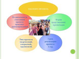 ПАСПОРТ ПРОЕКТА Срок реализации проекта: 1 год. Форма представления: презент