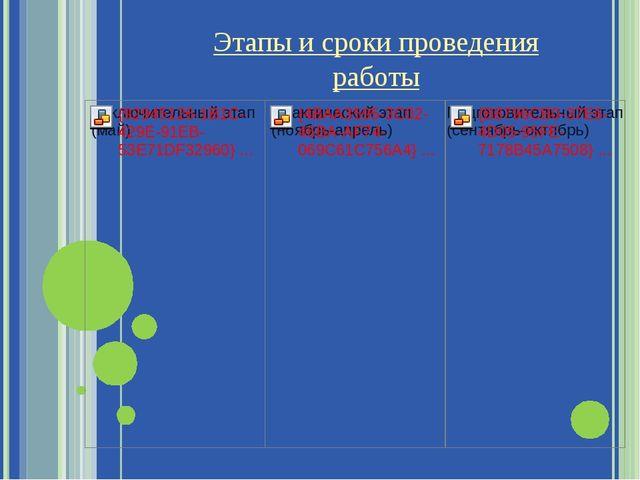 Этапы и сроки проведения работы