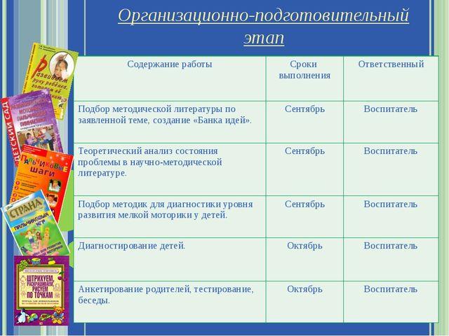 Организационно-подготовительный этап Содержание работы Сроки выполнения Ответ...