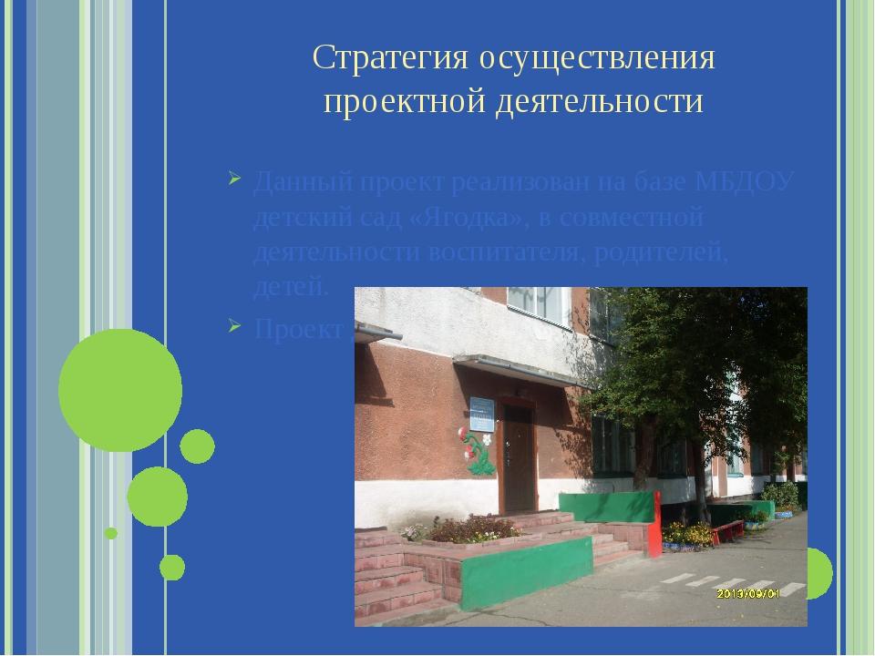 Стратегия осуществления проектной деятельности Данный проект реализован на ба...