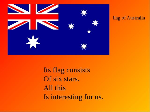 flag of Australia Its flag consists Of six stars. All this Is interesting for...