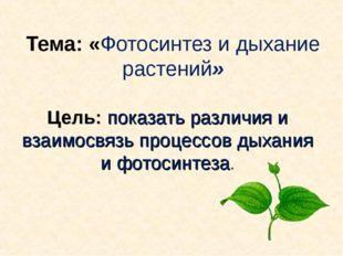 Тема: «Фотосинтез и дыхание растений» Цель: показать различия и взаимосвязь п