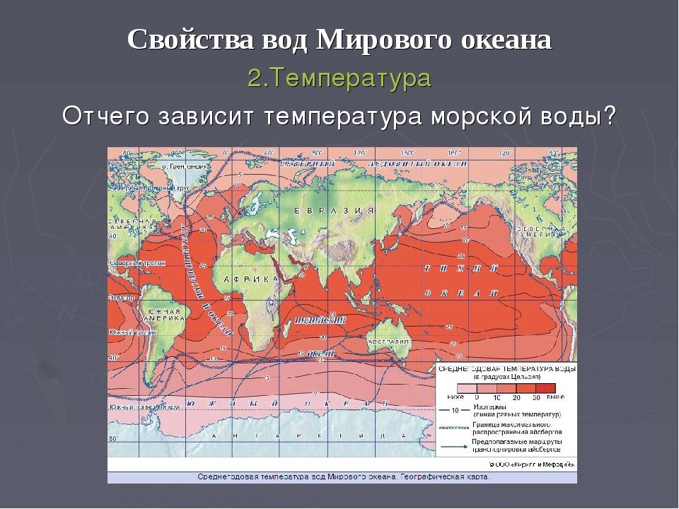 Свойства вод Мирового океана 2.Температура Отчего зависит температура морской...