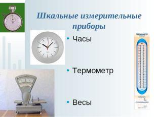 Шкальные измерительные приборы Часы Термометр Весы