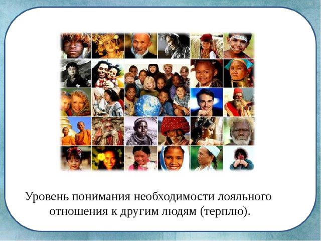 Tolerance Уровень понимания необходимости лояльного отношения к другим людям...