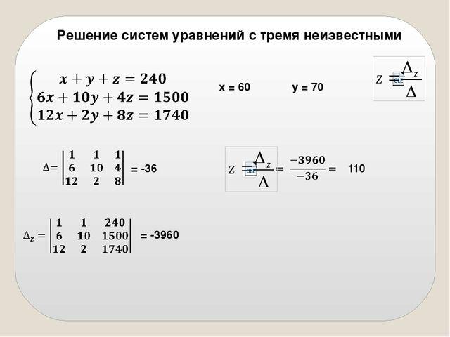 Решение систем уравнений с тремя неизвестными   = -36  х = 60  110 y = 7...