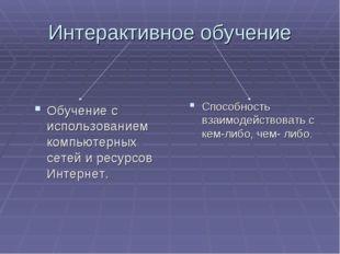 Интерактивное обучение Обучение с использованием компьютерных сетей и ресурсо