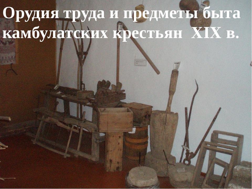 Орудия труда и предметы быта камбулатских крестьян XIX в.