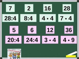 7 28:4 28 7 • 4 2 16 8:4 4 • 4 5 20:4 6 24:4 12 3 • 4 36 4 • 9