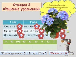 Решите уравнения и отгадайте зашифрованное слово – любимое комнатное растение