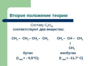 Второе положение теории Составу С4Н10 соответствуют два вещества: СН3 – СН2 –