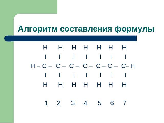 Алгоритм составления формулы Н Н Н Н Н Н Н I I I I I I I Н – С – С – С – С –...