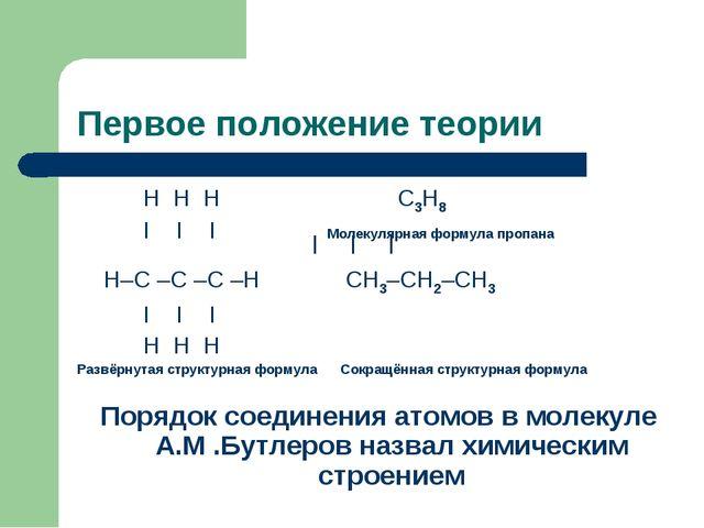 Первое положение теории Н Н Н С3Н8 I I I Молекулярная формула пропана Н–С –С...