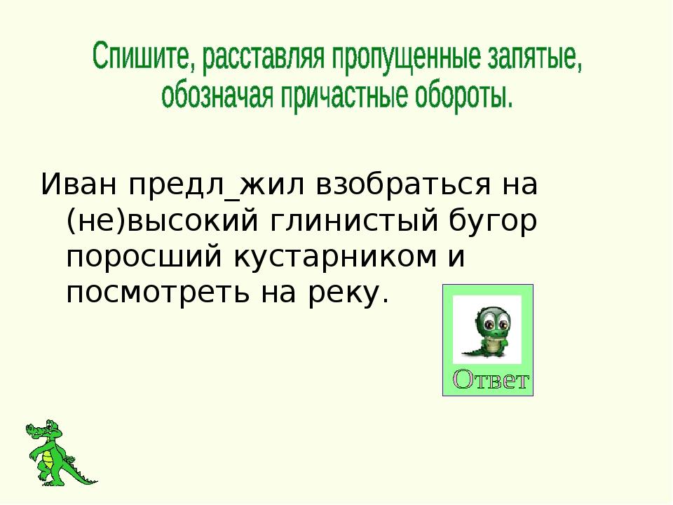 Иван предл_жил взобраться на (не)высокий глинистый бугор поросший кустарнико...