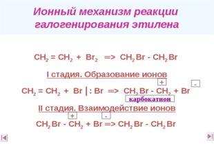 Ионный механизм реакции галогенирования этилена СН2 = СН2 + Вr2 ═> СН2 Вr -