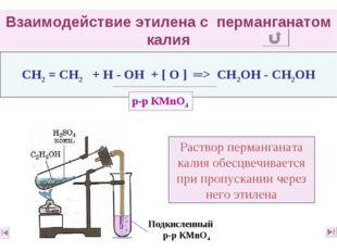 Взаимодействие этилена с перманганатом калия CН2 = CН2 + Н - ОН + [ О ] ═> СН