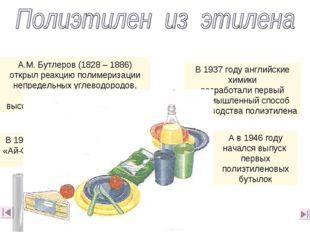 А.М. Бутлеров (1828 – 1886) открыл реакцию полимеризации непредельных углевод