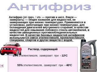 Антифриз (от греч. ἀντι-— против и англ.freeze— замерзать)— общее назван